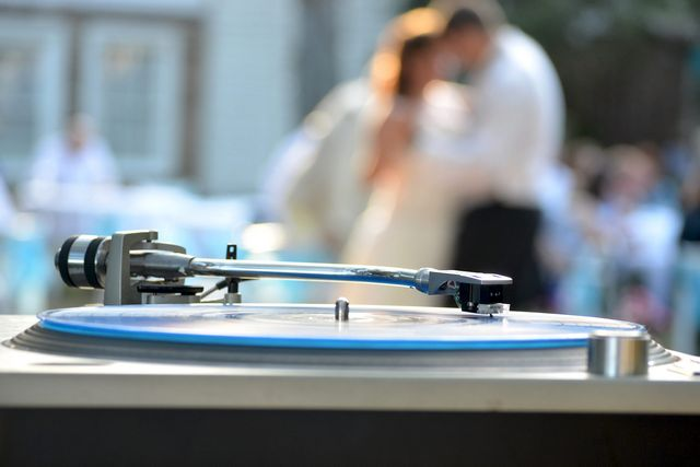 A DJs turntable at a wedding