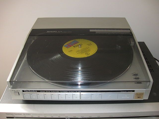 an old turntable record player